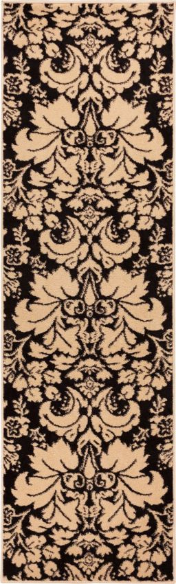 Damask Toile Black/Ivory Transitional Rug - Well Woven
