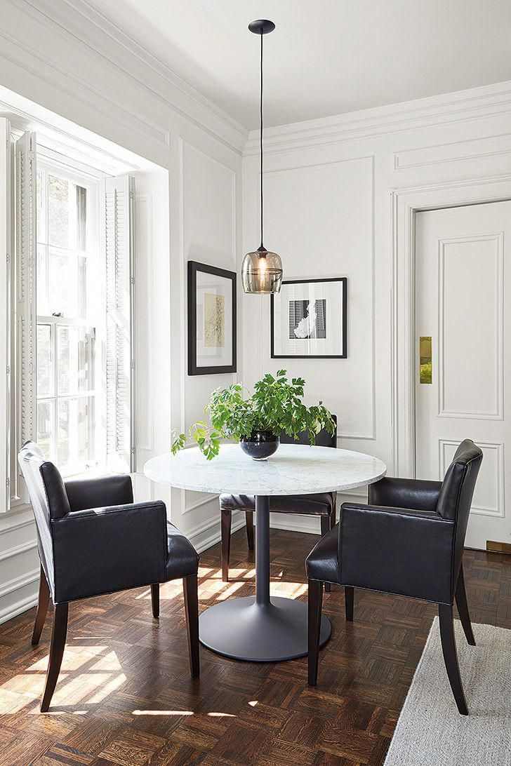 Round Aria Table With White Quartz Top And Three Marie Leather Arm Chairs Whiteleatherchair