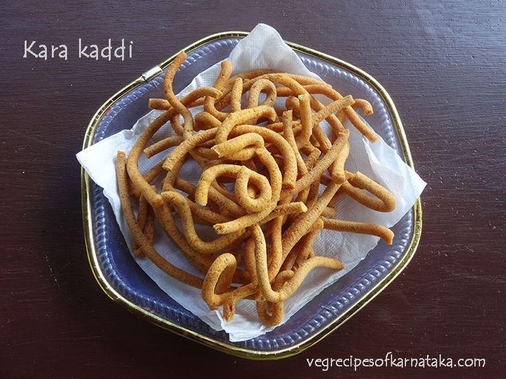Kara kaddi or kara sev recipe explained with step by step pictures. This is a Karnataka style kara kaddi recipe prepared using gram flour alone. This easy kara kaddi or khara kaddi is also known as kara sev or murukku.
