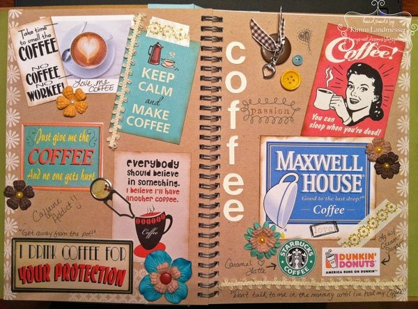 cute smash book page - use favorite brand labels & logos