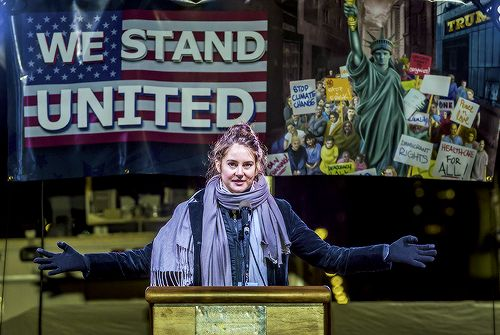 """The narrative surrounding us against them does not ever work. Violence does not work. Aggression does not work. Anger can be transmuted into fuel so that we can show up with passion. But that passion has to be grounded and rooted in compassion, and love, and prayer."" — Shailene Woodley speaks onstage during the We Stand United NYC Rally outside Trump Tower on January 19, 2017"