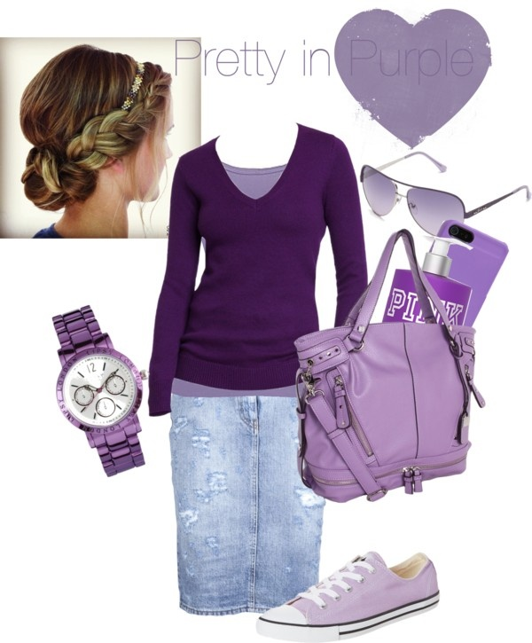 """""""Pretty in Purple"""" by sarah-witmer-maerz ❤ liked on Polyvore  ~Yes...This is a really cute way to wear one color"""