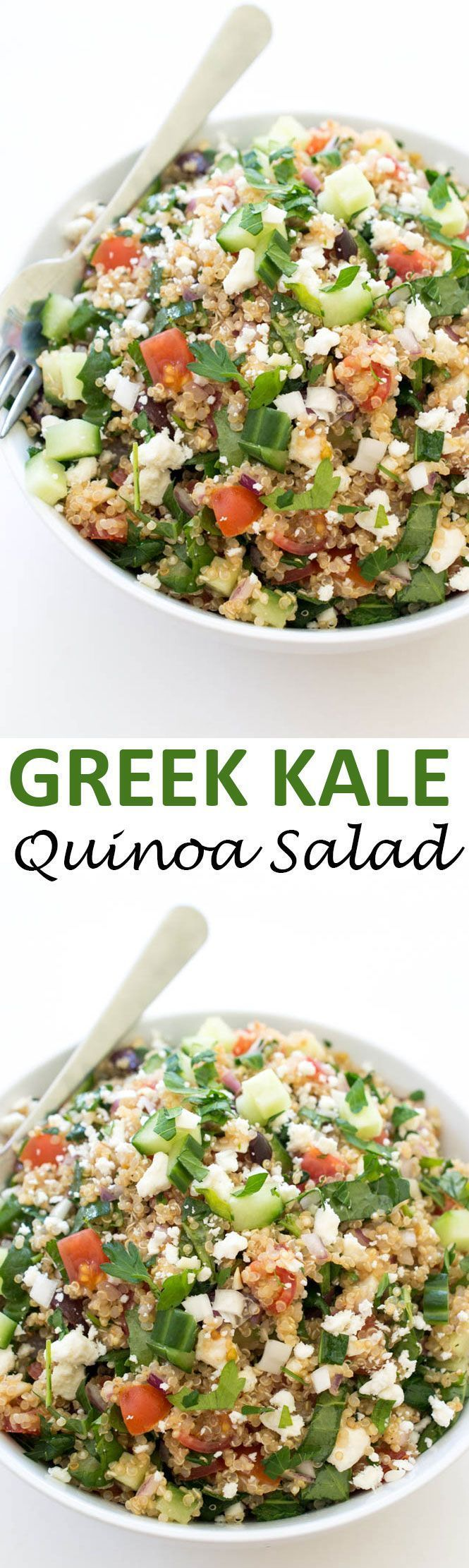 30 Minute Greek Kale Quinoa Salad. Loaded with tons of vegetables and tossed with lemon and olive oil! | chefsavvy.com #recipe #greek #kale #quinoa #salad #healthy