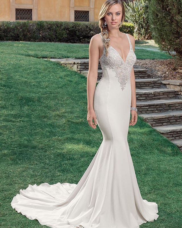 Sexy fit and flare Casablanca wedding dress