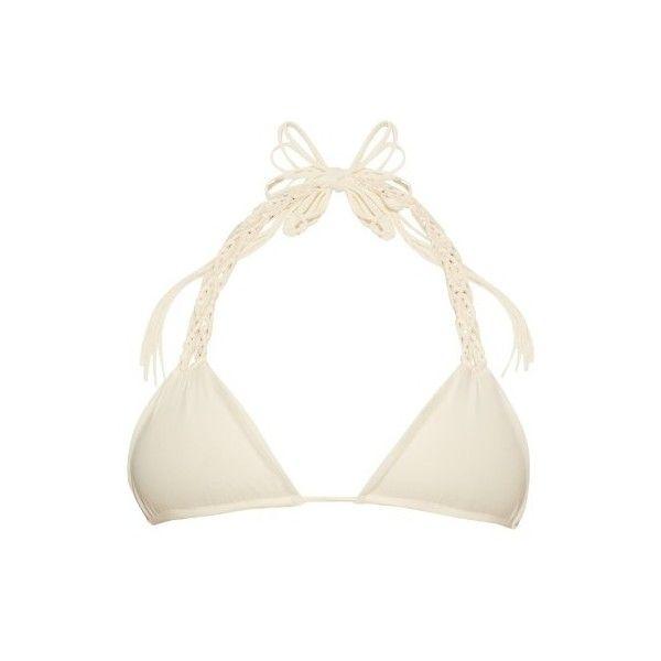 Mikoh Kula woven triangle bikini top (725 MYR) ❤ liked on Polyvore featuring swimwear, bikinis, bikini tops, white, white halter bikini top, white bikinis, white crochet bikini, halter bikini top and triangle bikini top
