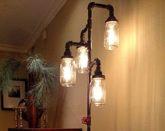 Pipe Floor Lamp with Bulbs 4-fixture by VintagePipeCreations