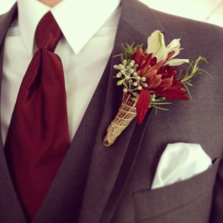 Fall Wedding Boutonniere Ideas: Groomsmen Fall Burgundy Boutonnière