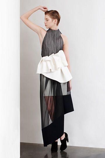 Contemporary Fashion - sheer dress with gathered waist for bold contrast // Commuun AW12