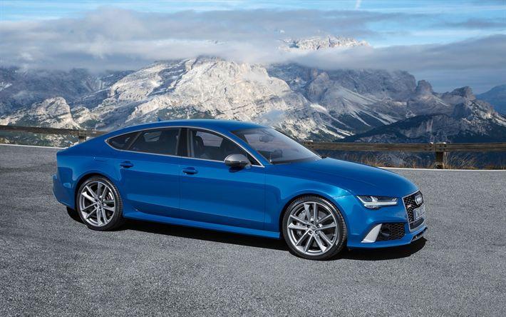 Download wallpapers Audi RS7 Sportback, 2017, Blue RS7, German cars, Audi