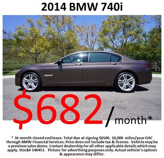 $682/month on a 2014 #BMW 740i! Offer expires: 07/31/2014