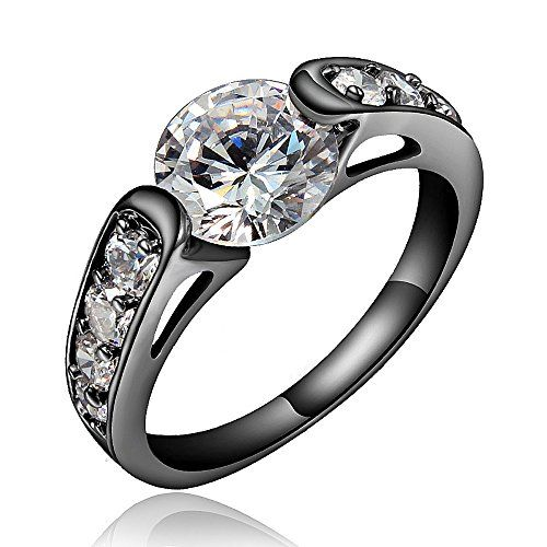 Black Color Clear Rhinestone Mosaic Wedding Engagement Band Ring For Women Size US 7 Stainless Steel Size in 6-9