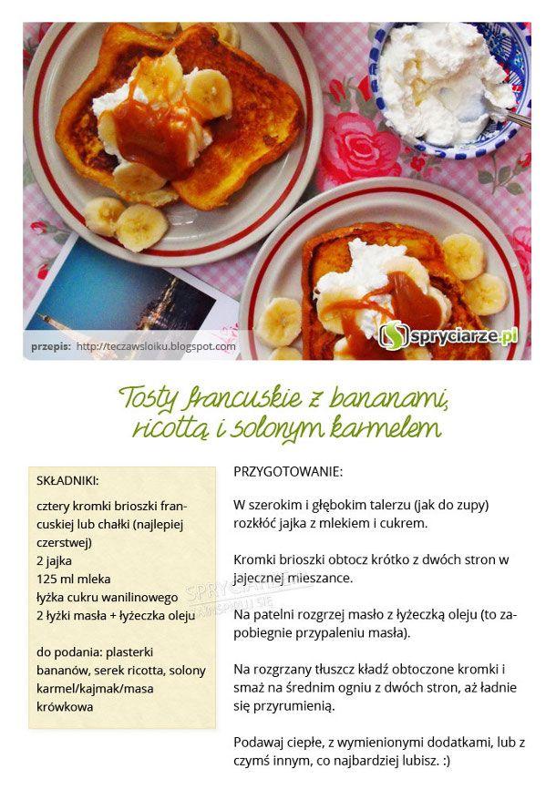 Przepis na tosty francuskie z bananami, ricottą i solonym karmelem