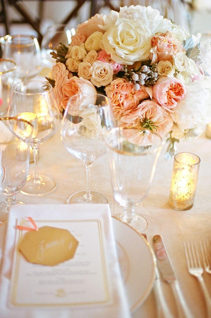 classic setting + peachy blooms by Tara Guerard Soiree #wedding