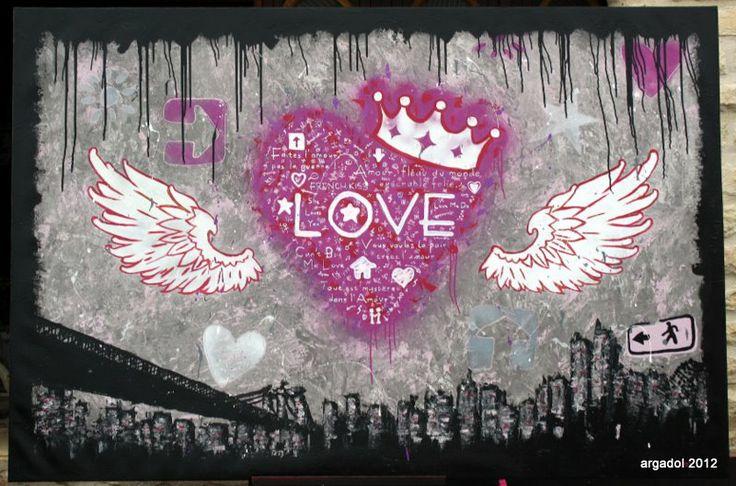 LOVE IS ALL. Commande personnalisée sur toile en lin de 130cm x 195cm