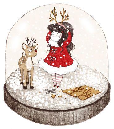Idée illustration - thème Noël : Jeune fille et cerf dans une boule de neige #tpmm