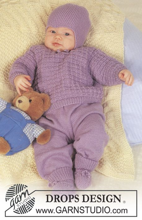 """DROPS jumper with textured pattern, pants, hat and booties in """"Baby Merino"""". ~ DROPS Design"""