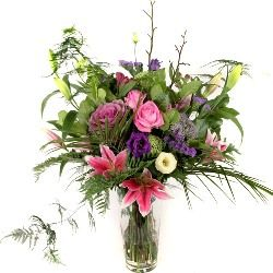 Flower Bouquet in Pinks and Purples Hand Tied
