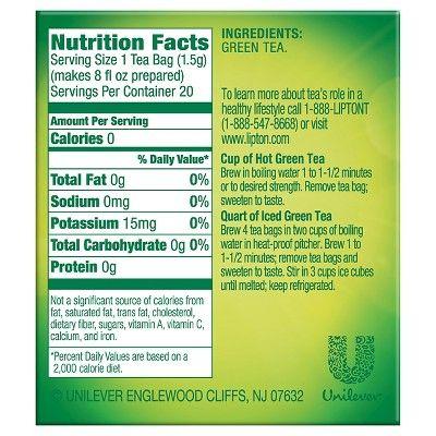 Lipton 100% Natural Pure Green Tea 20 ct