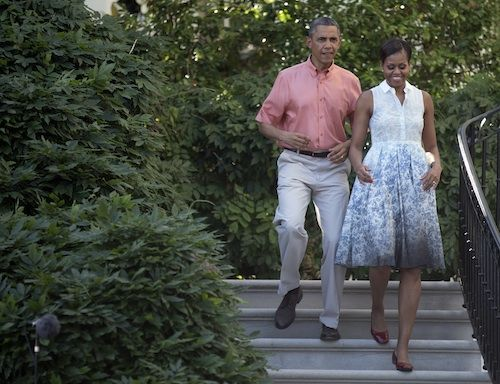 Mrs. Obama wearing a Boy. by Band of Outsiders Degade Toile de Joie Dress on July 4, 2013.