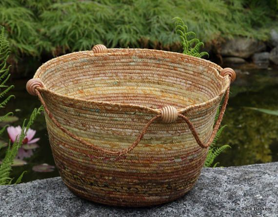Coiled Cord Knitting Basket made with a selection of golden
