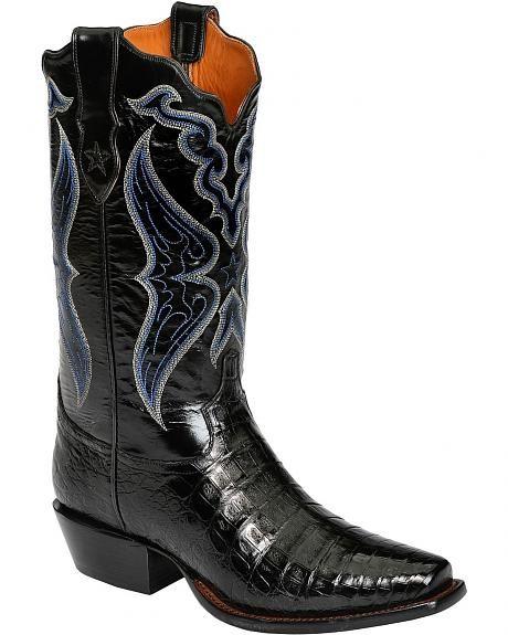 Tony Lama Signature Series Caiman Belly Cowboy Boots - Snip Toe