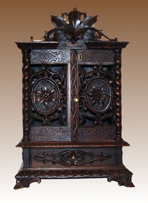 """Antique Late 19th CenturyBlack Forest  Miniature Hand Carved Cabinet / Jewelry Box 13"""" W x 8 1/4"""" D x 19 1/4"""" H....Beautifully Detailed ! Photo via Ebay"""