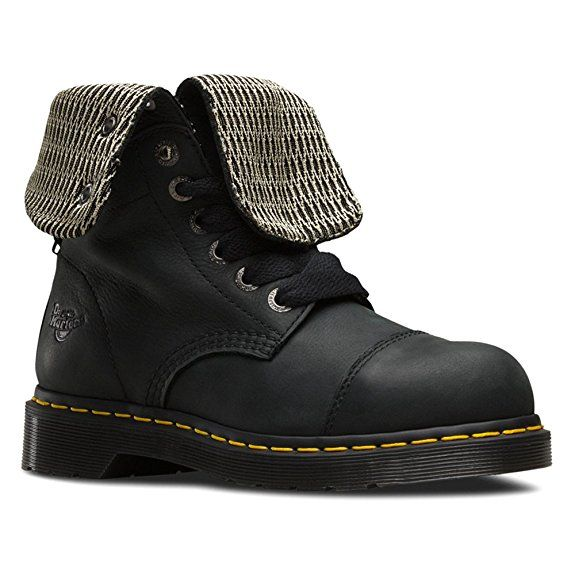Dr. Martens Women's Leah Steel Toe Work Boots, Black Leather, 5 M UK, 7 M US