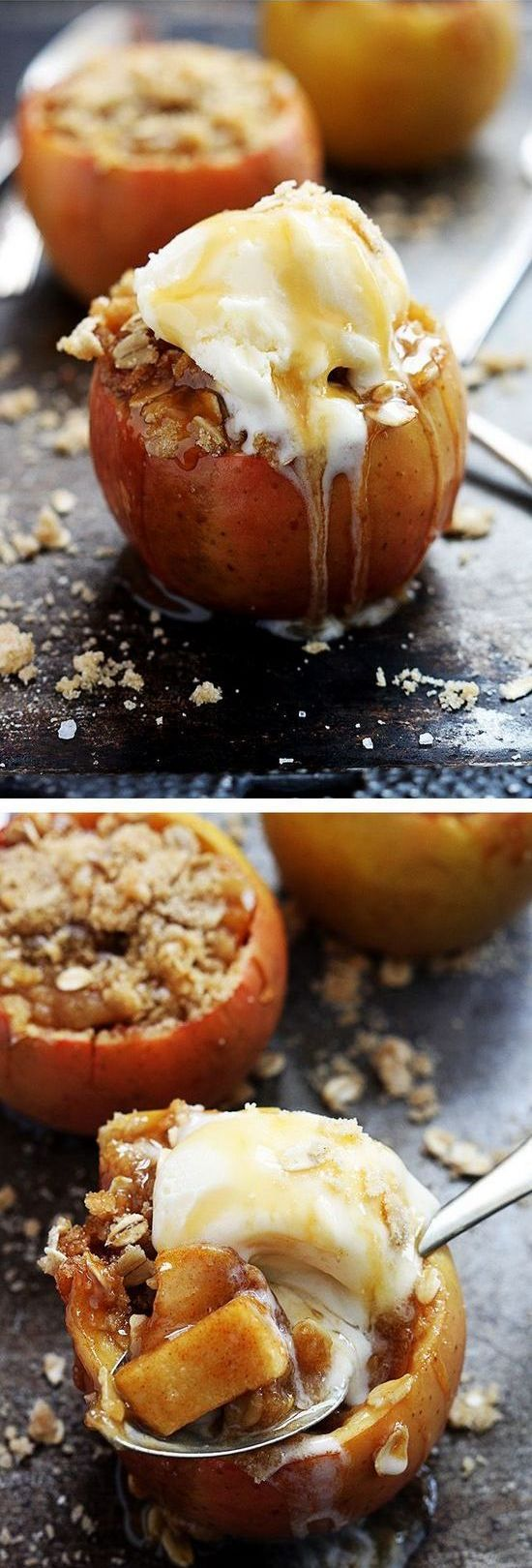Apple Crisp Stuffed Apples, this could be a good way to avoid an entire pie. I would cut the amount of sugar way back and change to almond flour.