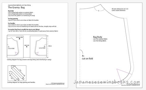 Free Printable Wallet Sewing Patterns | Sew-Along Day 1 – The Granny Bag » Japanese Sewing, Pattern, Craft ...