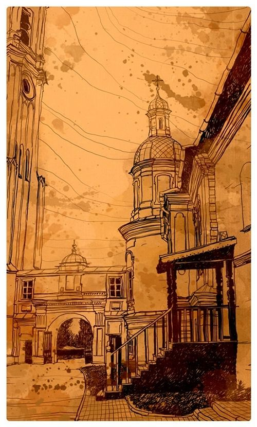 Architectural Drawings with a Striking Background. To see more art and information about Evgeniy Rodionov click the image.
