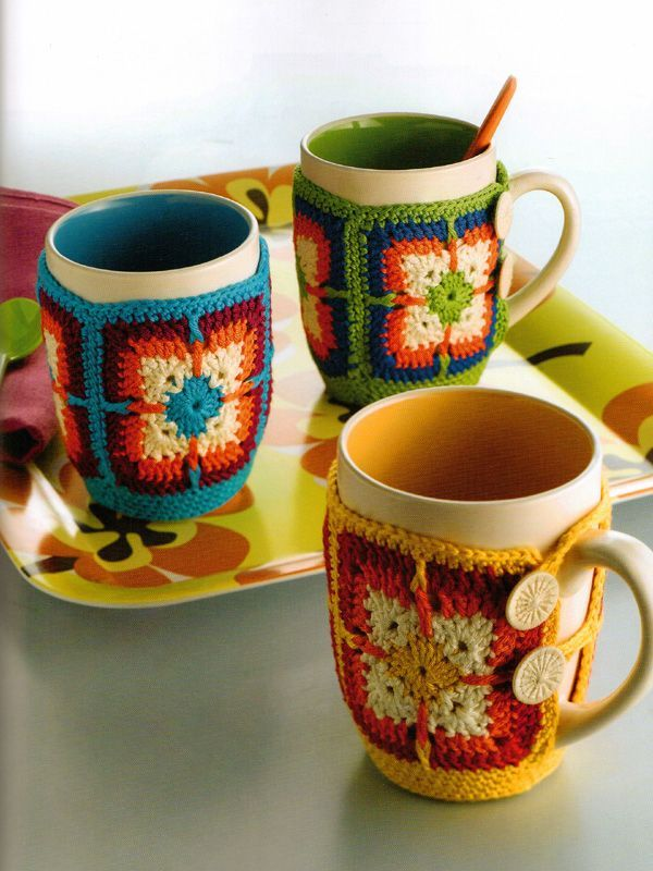 Independent Designers knitting patterns, Granny Squares, Button-on Mug Cosy, from Laughing Hens