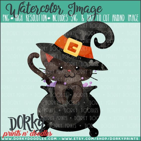 Witch Cat Halloween Watercolor PNG Artwork – Digital File – for heat press, planners, cookies, and c