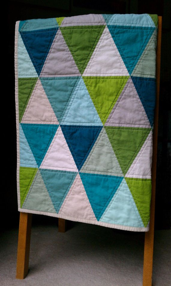 Made to Order Modern Triangle Baby Quilt in Aquas, Blues, Greens & Neutrals w/ FREE U.S Shipping