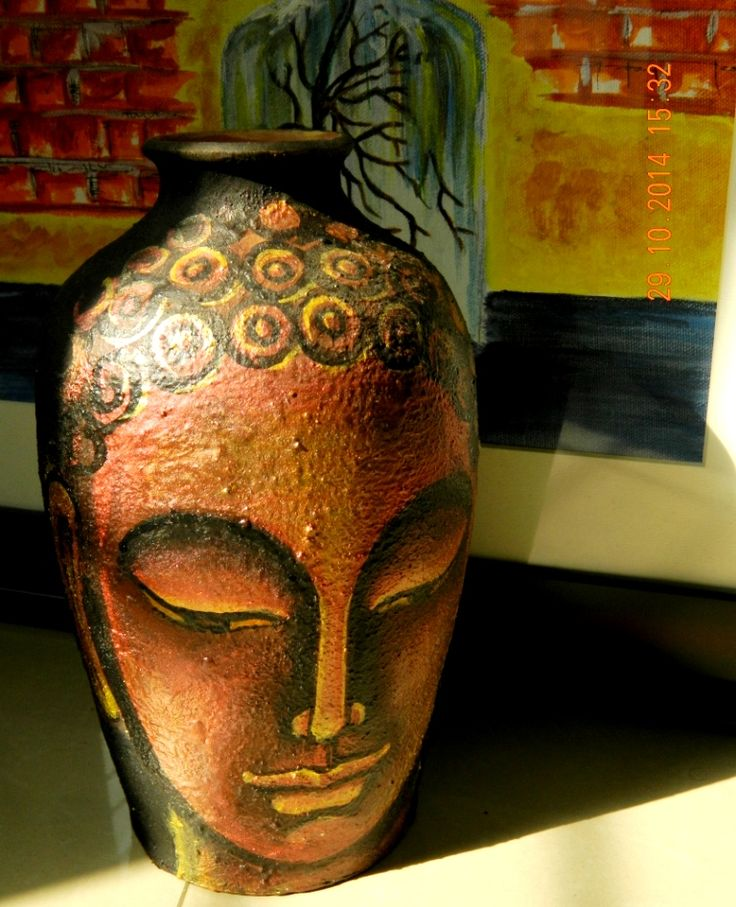Hand painted terracotta large pot. Depicting Buddha - Symbol of peace, calmness and truth.