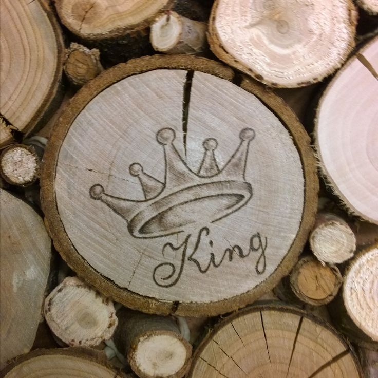 Pyrography by E. Klassen.  Crown.  Commissioned addition to a wedding present.