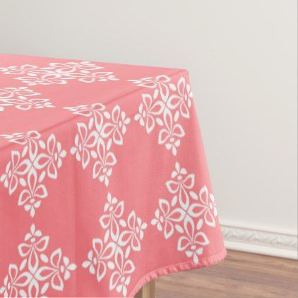 White Fleur De Lis on Coral Pink Tablecloth - kitchen gifts diy ideas decor special unique individual customized