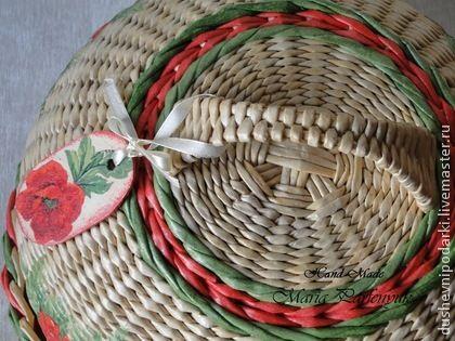 """Хлебница """"Маки"""" - бежевый,хлебница,плетение,для кухни,для дома и интерьера"""