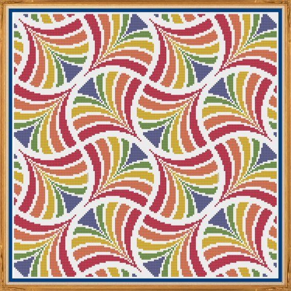 Geometric 10 – Fans – Counted Cross Stitch Pattern (X-Stitch PDF)