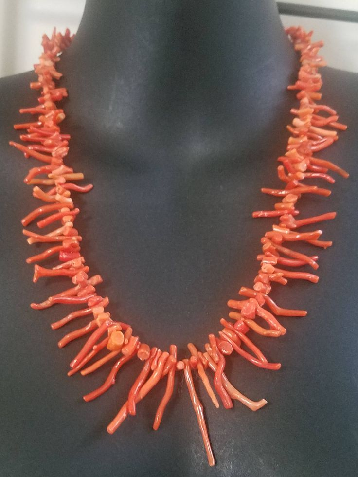 Italian Coral Branches necklace| Vintage Coral Branch Sterling Silver Necklace| Vintage Italian Coral Branch| Natural Coral Branch Necklace by ToRaDiMo on Etsy