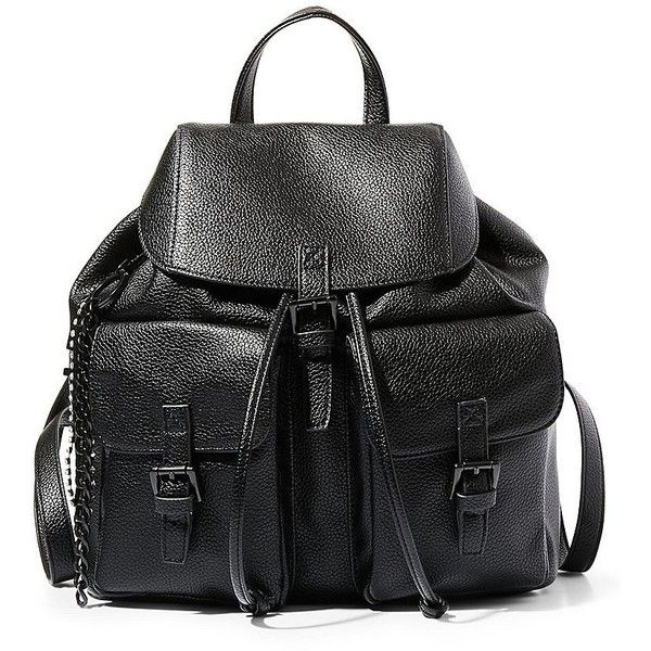Steve Madden Women's Flap Over Backpack ($57) ❤ liked on Polyvore featuring bags, backpacks, accessories, black, drawstring knapsack, cotton drawstring bags, cotton backpack, day pack backpack and drawstring backpack