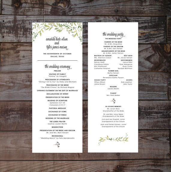 Floral wedding program wedding ceremony programs printable