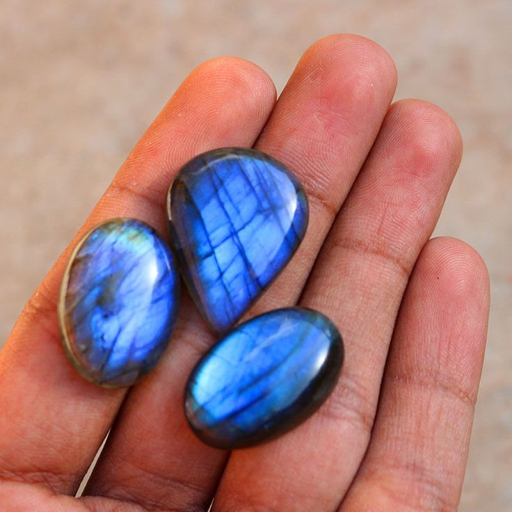 3Pcs 81Cts. 29x22mm 100%Natural AAA+++ Labradorite Blue Fire Oval Pear Gemstone #Unbranded