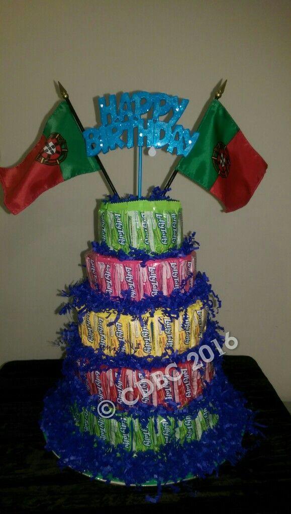 Laffy Taffy Candy Birthday Cake with Portugal Flag