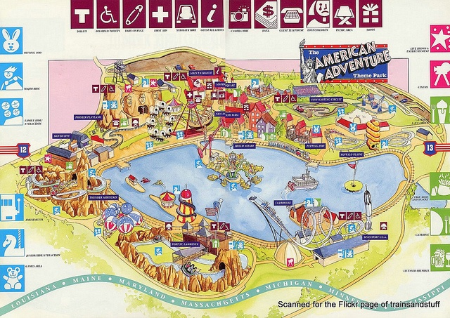 American Adventure Theme Park - map from 1993 guidebook by trainsandstuff, via Flickr