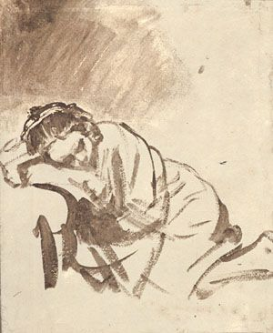 Rembrandt - A Woman Sleeping  c. 1655, The British Museum, London