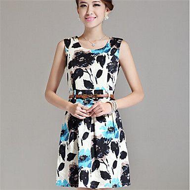 Women's Flower Printing Vest Slim Dresses (Blazer & Dress) - USD $ 29.99