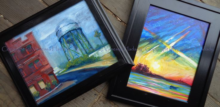 "Couple of finished pieces off to the gallery.  ""west lindsay street"" (left) and ""gently beneath the stars"" (right), each 11x14 in.  GalleryPreviewOnLine.com  Copyright (c) Vanessa Hadady"