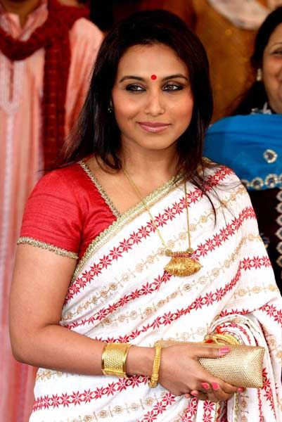 Indian Bollywood actress Rani Mukherjee attends the wedding of actress Esha Deol with Bharat Takhtani in Mumbai on June 29, 2012.