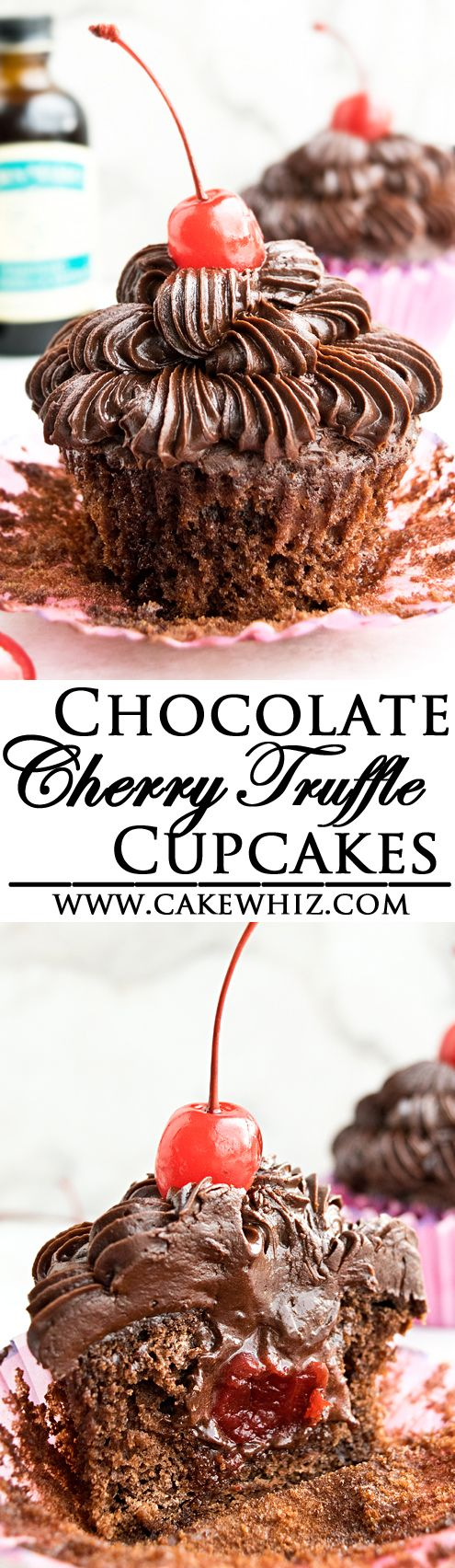 These soft and moist CHOCOLATE CHERRY CUPCAKES are made with maraschino cherries. They are stuffed with fudgy chocolate cherry truffles and also topped off with chocolate fudge frosting. {Ad} From cakewhiz.com