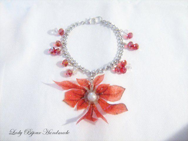 Braccialetto bracciale con ciondolo fiore rosso fatto in Sospeso Trasparente, by Lady Bijoux Handmade, 12,00 € su misshobby.com